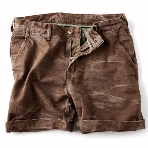 Vintage Stonewash Dark Brown Denim Shorts for Men - d143 Mens Clothing
