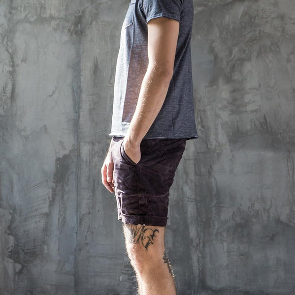 Vintage Stonewash Purple Denim Shorts for Men - d'143 Men's Clothing