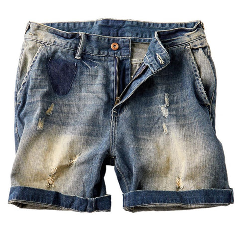 Vintage StoneWashed Denim Short for Men - d'143 Men's Clothing
