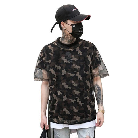 Mesh Camouflage Short Sleeve T-Shirts for Men - d'143 Men's Clothing
