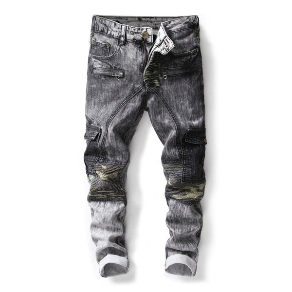 Camouflage-Black Gradient Wash Denim Jeans for Men - d'143 Men's Clothing