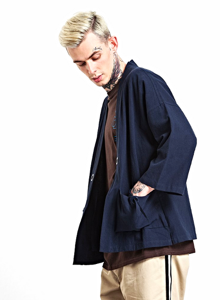 Japanese Kimono Inspired Lightweight Jacket for Men | NAVY BLUE - d'143 Men's Clothing