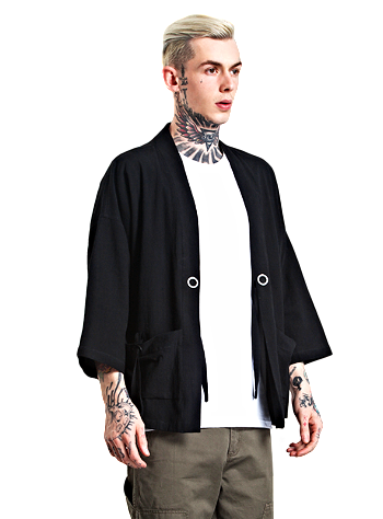 Japanese Kimono Inspired Hemp Jacket for Men | BLACK | d143 Mens Clothing