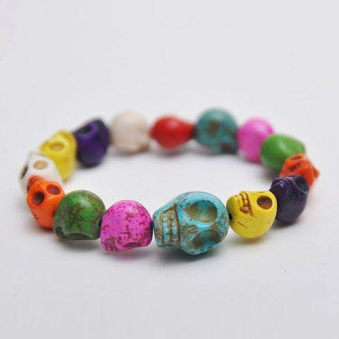 Day of the Dead Skull Beaded Bracelet - d'143 Men's Clothing