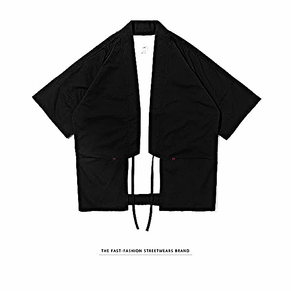 Japanese Kimono Inspired Lightweight Jacket for Men | BLACK - d'143 Men's Clothing