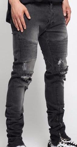 3D Stitch Distressed Denim Jeans - Black* - d'143 Men's Clothing