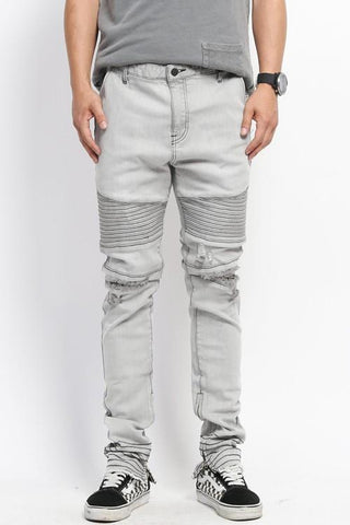 3D Stitch Distressed Denim Jeans - White* - d'143 Men's Clothing