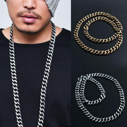 Big & Long Matt Metal Chain Necklace - d'143 Men's Clothing
