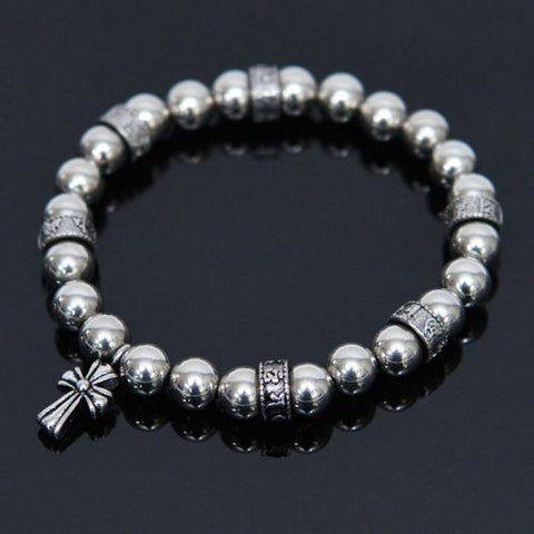Metalic Steel Beaded Bracelet - d'143 Men's Clothing