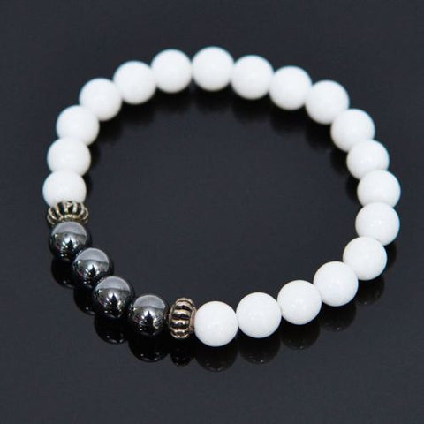 Marble and Hematite Beaded Bracelet - d'143 Men's Clothing