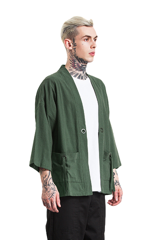Japanese Kimono Inspired Hemp Jacket for Men | ARMY GREEN | d143 Mens Clothing