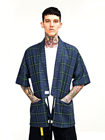 Japanese Kimono Inspired Lightweight Jacket for Men | Plaid | d1four3 Mens Clothing