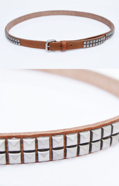 Studded Cowhide Slim Leather Belt - d'143 Men's Clothing