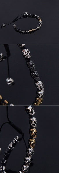 Gold and Silver Mix Skull Cuff Bracelet - d'143 Men's Clothing