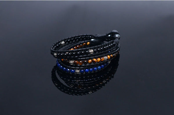 Gemstone Beads Leather Cuff-Bracelet - d'143 Men's Clothing