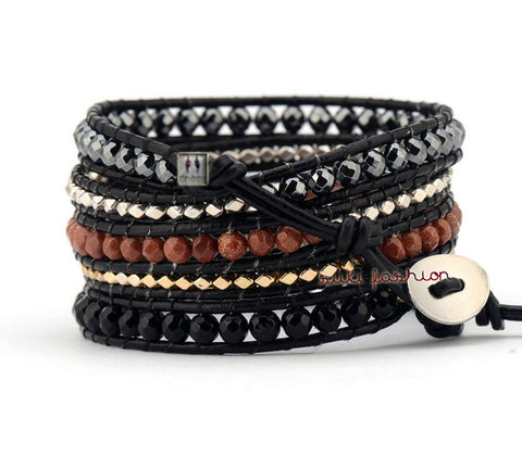 5 Layered Leather Gold/Silver Plated Beads Bracelets - d'143 Men's Clothing