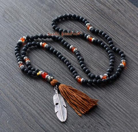 Lava Stones Agate Necklace with Leaf Pendant and Tassel - d'143 Men's Clothing