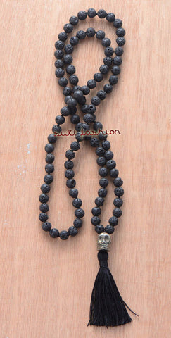 Lava Stones Necklace with Pyrite Skull Pendant and Tassel - d'143 Men's Clothing