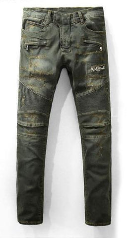 Distressed Denim Moto Jean Pants