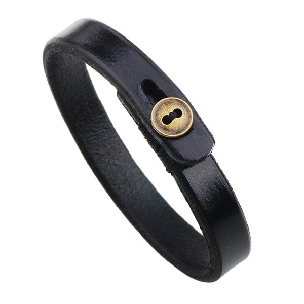 Leatherette & Button Wristband Bracelet - d'143 Men's Clothing