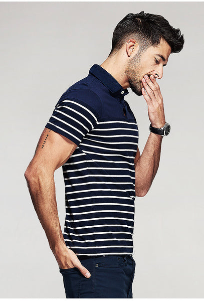 Simple Contrast Slim Fit Short Sleeve Polo Shirt - d'143 Men's Clothing