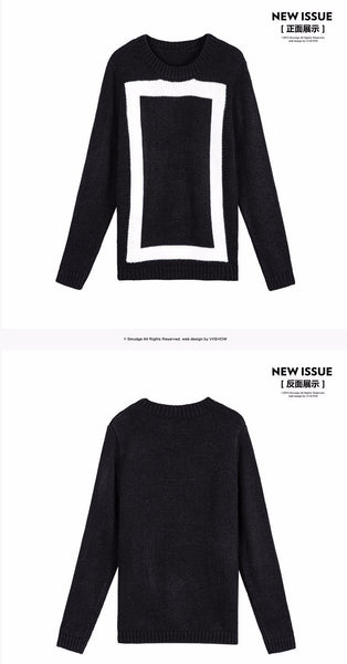 Geometric O-Neck Knitted Pullover Sweater - d'143 Men's Clothing