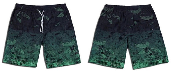 Crowded-Seas Printed  Quick Drying Beach Shorts for Men - d'143 Men's Clothing