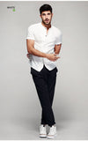 Solid Short Sleeve Front Pocket Slim Fit Button Down Shirt - d'143 Men's Clothing