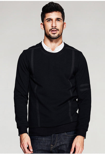 Striped Patchwork Black Pullover Sweater - d'143 Men's Clothing