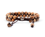 Tan Jasper Braided Cuff Bracelet - d'143 Men's Clothing