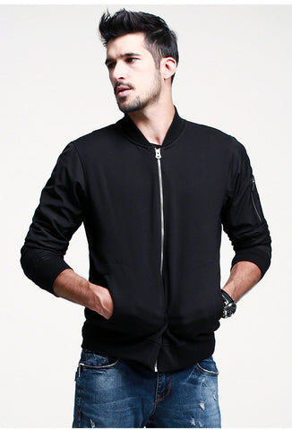 Windbreaker Sleeved Zipper Jacket - d'143 Men's Clothing