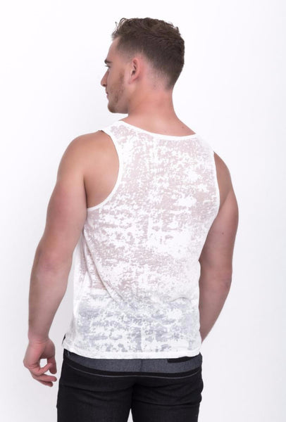 Semi-Transparent Distressed Tank Top - d'143 Men's Clothing