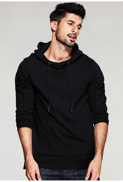 Patchwork Black Pin-Striped Slim Hooded Long Sleeve Sweater - d'143 Men's Clothing
