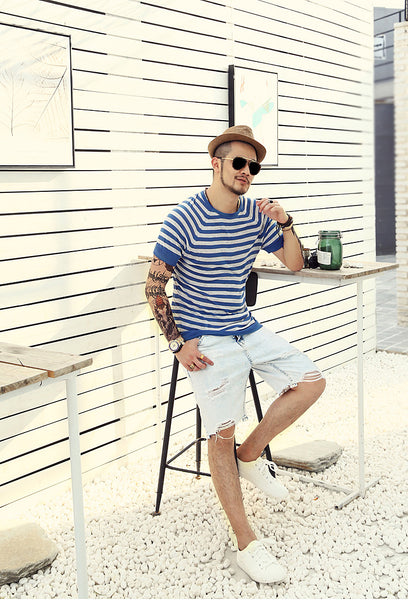 Striped Short Sleeve Knitted Casual T-Shirt for Men - d'143 Men's Clothing