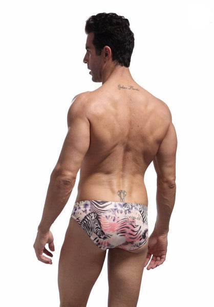 Geometric Low Waist  Swimsuit pink full back - d'143 Mens Clothing