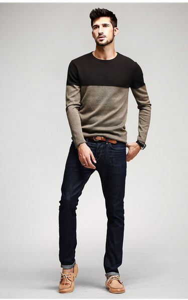 Patchwork Knit Pullover Long Sleeve Sweater - d'143 Men's Clothing