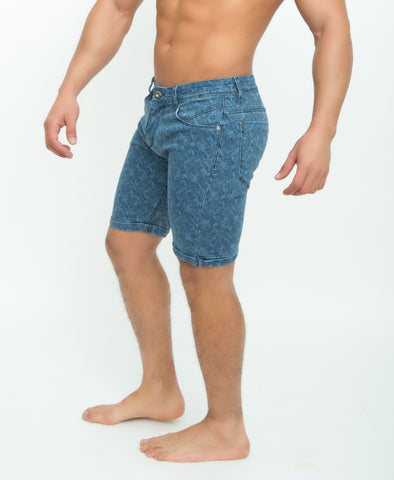 Paisley Fade Slim Fit Blue Denim Shorts for Men - d'143 Men's Clothing