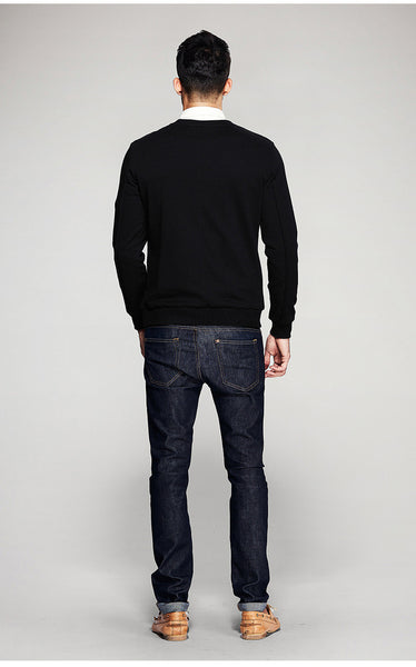 Patch Black and Gray Zipper Pullover Sweater - d'143 Men's Clothing