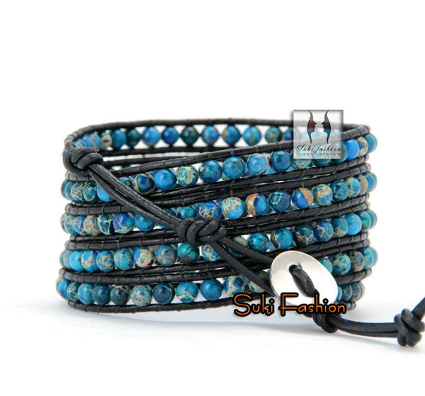 Natural Jasper Stone Leather Wrap Bracelet - d'143 Men's Clothing