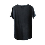 Irregular Washed-Out Round Collar T-Shirt - d'143 Men's Clothing