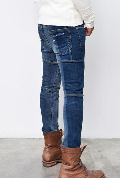 Vertical Contrast Two Tone Blue Jeans* - d'143 Men's Clothing