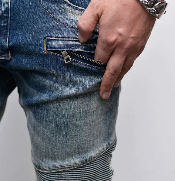 Damaged Slim Biker Jeans* - d'143 Men's Clothing