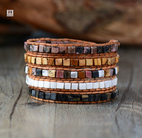 5 Layered Square Lava Stone Leather Wrap Bracelets - d'143 Men's Clothing