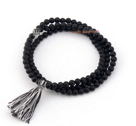 Handmade 4MM Matte Black Agate Bracelet Necklace - d'143 Men's Clothing