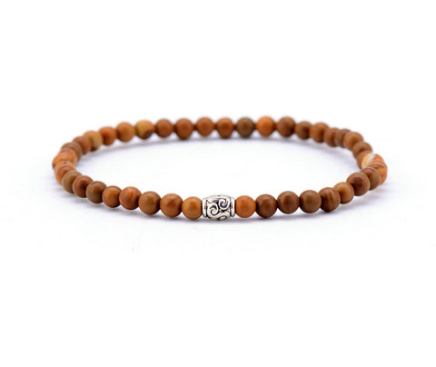 4MM Wood Jasper with Tibetan Beads Bracelet - d'143 Men's Clothing