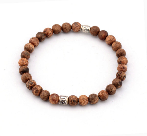 6MM Vintage Agate Stone Tibetan Beads Bracelet - d'143 Men's Clothing
