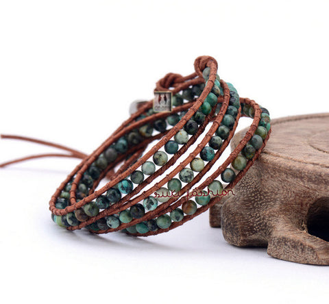 African Turquoise 3 Layered Leather Wrap Bracelets - d'143 Men's Clothing