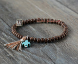 Wooden Beads Turquoise Stone Cross Bracelet - d'143 Men's Clothing