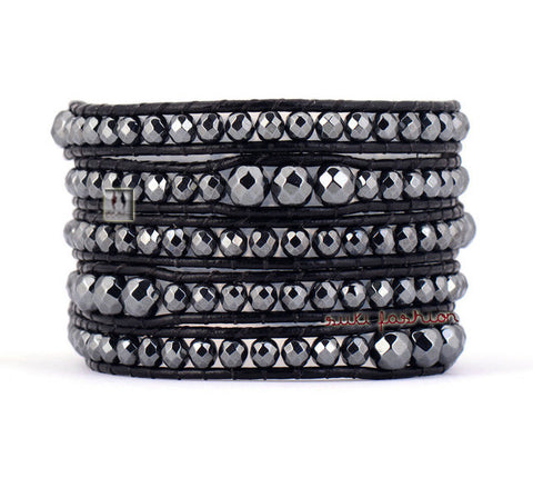 5 Layered Graduated Hematite Leather Wrap Bracelets - d'143 Men's Clothing