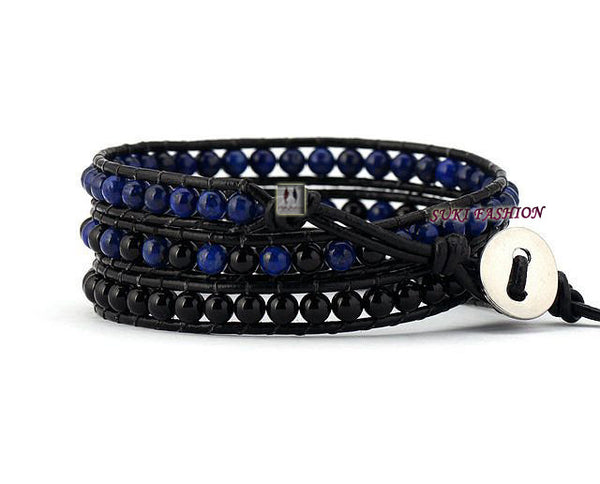 Lapis Lazuli and Black Agate 3 Layered Leather Wrap Bracelet - d'143 Men's Clothing